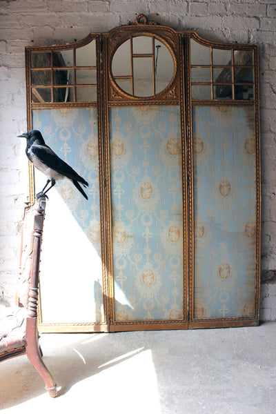 Regency Era Drawing Room: A Good French 19thC Giltwood & Mirror Panelled Three Panel