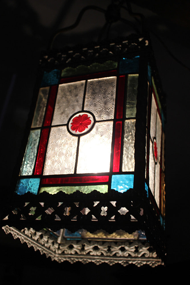 An Attractive Late Victorian Brass & Stained Glass Hall Lantern c.1890