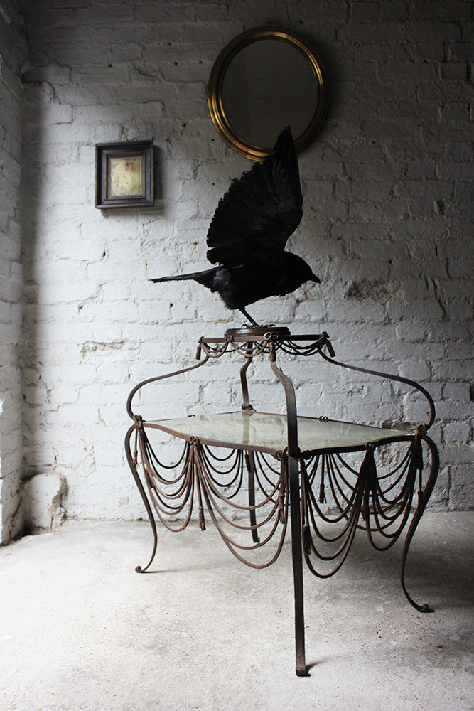 An Unusual Continental Wrought Iron and Mirrored Glass Two-Tiered Occasional Table c.1880
