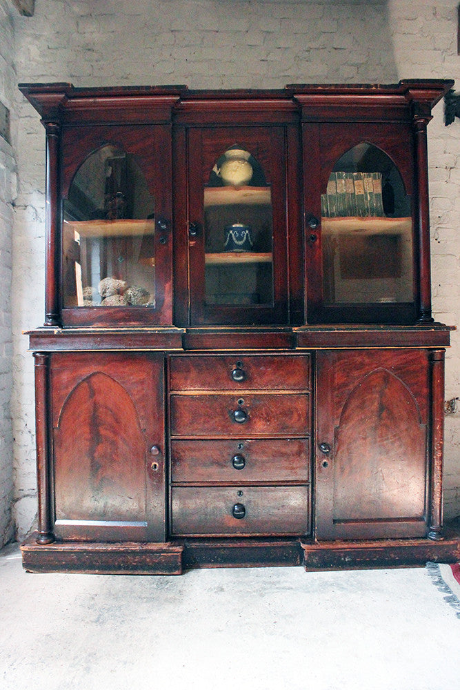 A Decorative c.1840 Gothic Revival Stained Pine Breakfront Bookcase