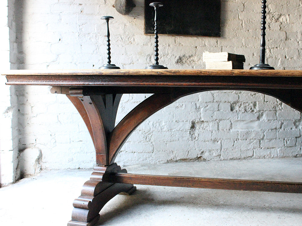 A Fine c.1860 Victorian Oak Gothic Revival Refectory Table in the Manner of A.W.N. Pugin