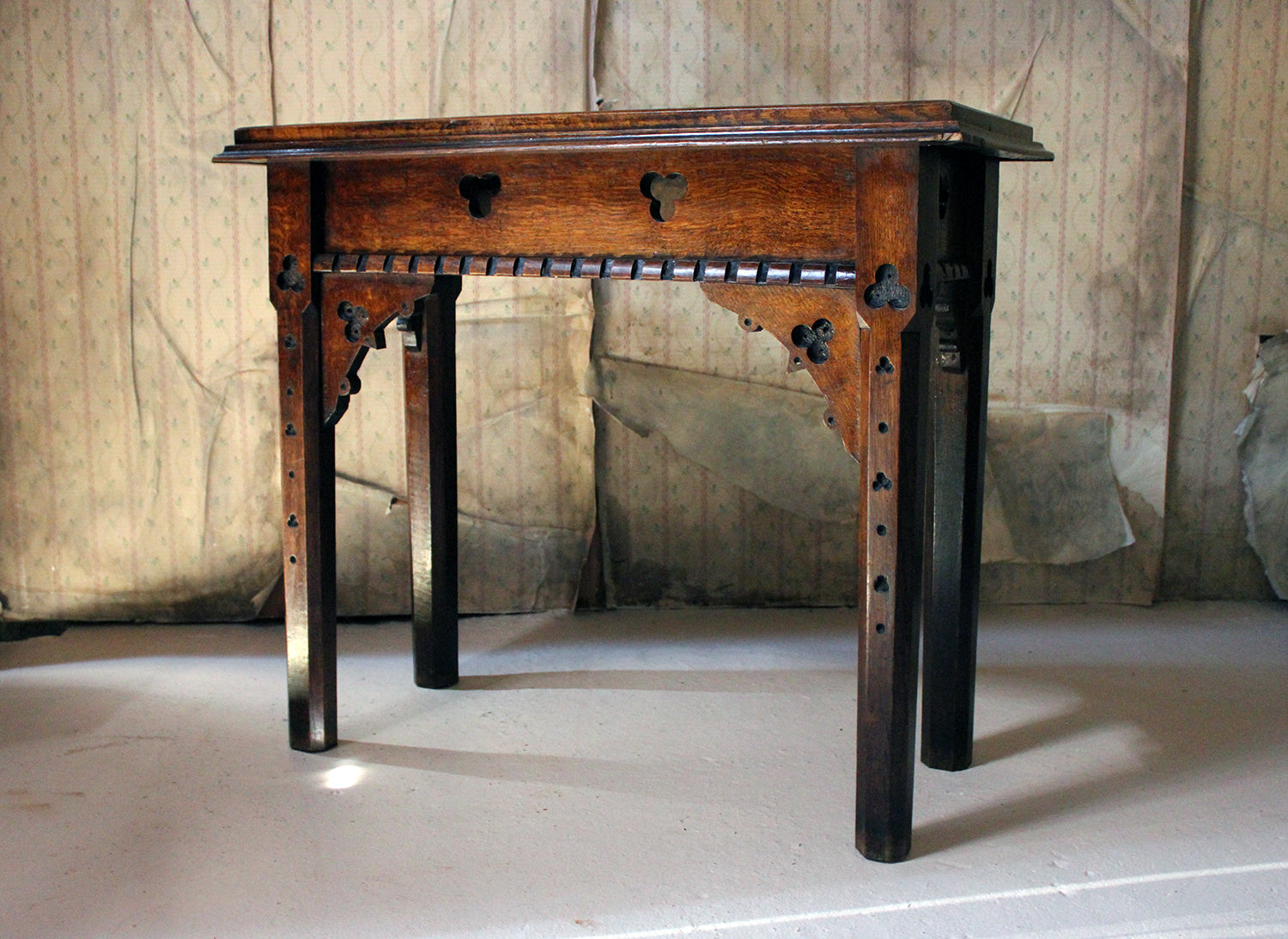 A Mid-Victorian Gothic Revival Oak Side Table c.1870