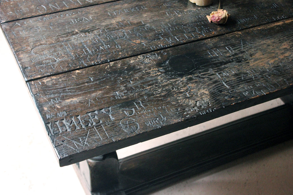 A Unique 19thC Graffitied Oak Refectory Table