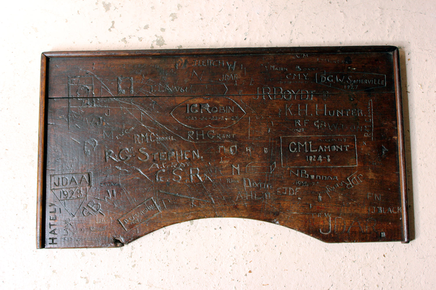 An Interesting 1920s Graffitied Oak School Desk Lid