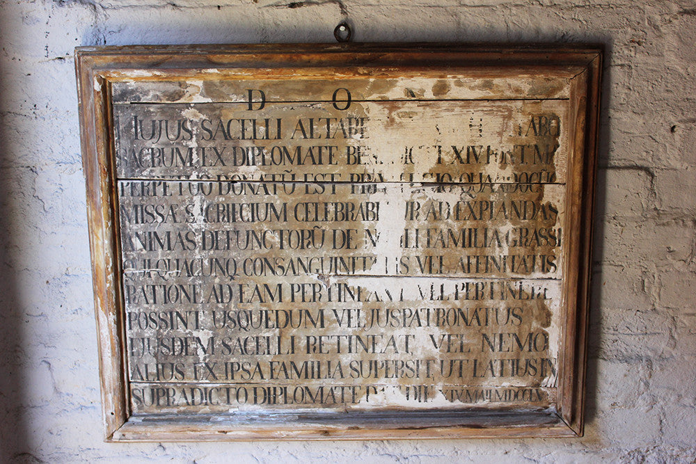 A Wonderful Mid 18thC Italian Painted Pine Chapel Dedication Plaque for the Grassi Family, Dated to 1755