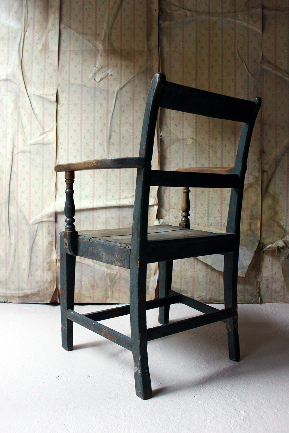 A Welsh Provincial Green Painted Open Armchair c.1830-40