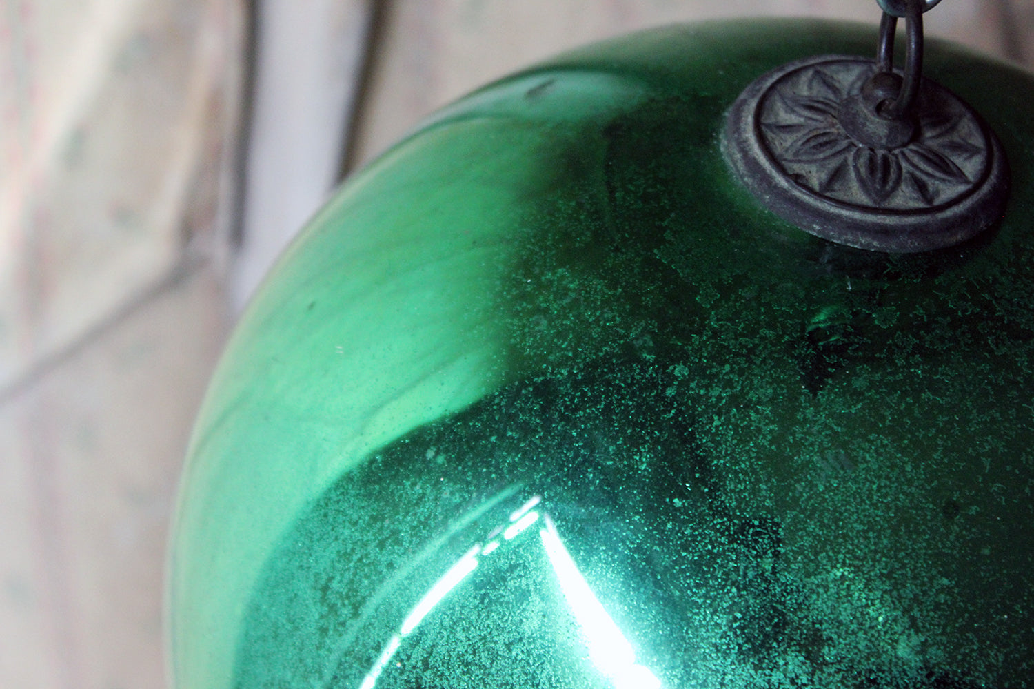 A Good Large Green Mercury Glass Witches Ball c.1900