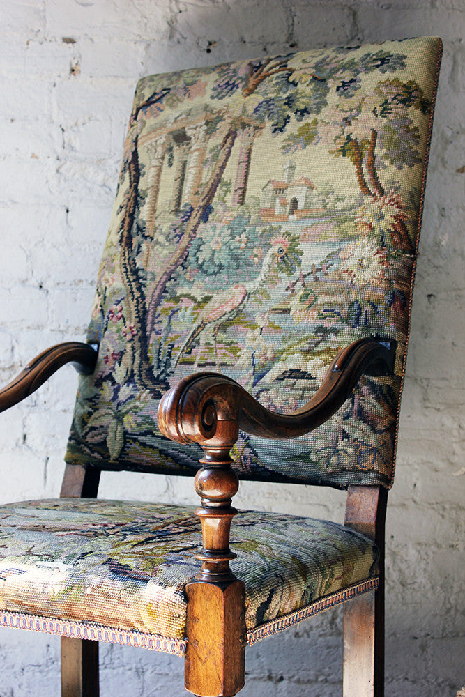 A Good Quality Louis XIV Style Gros-Point Upholstered Open Armchair from Auchterool House, Fife