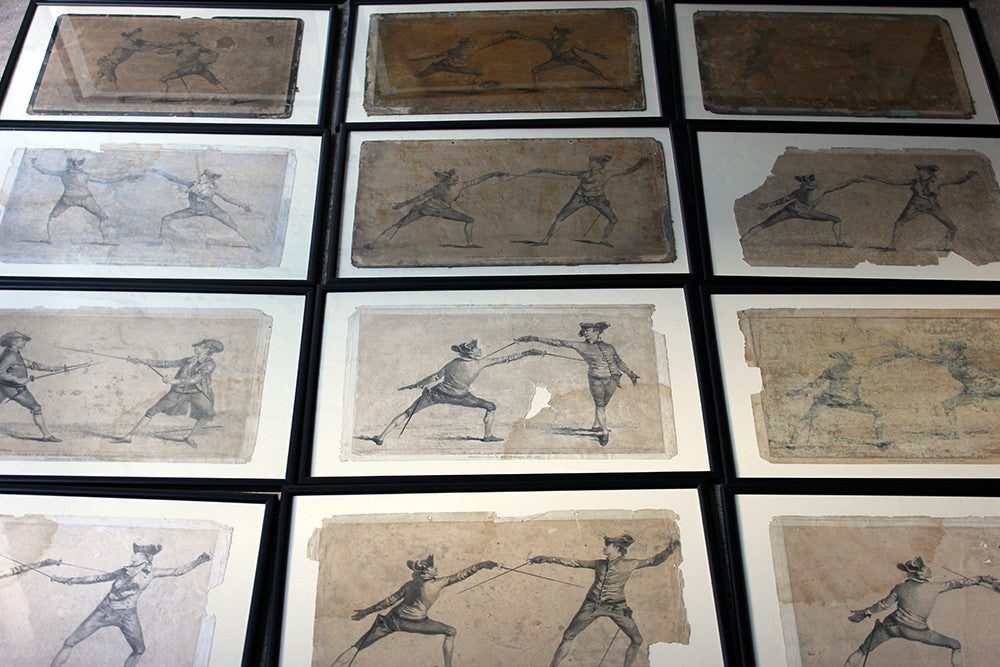 "Angelo Domenico; ""L'Ecole des Armes""; A Superb Group of 16 Framed 18thC Engravings of Fencing Duels c.1763"