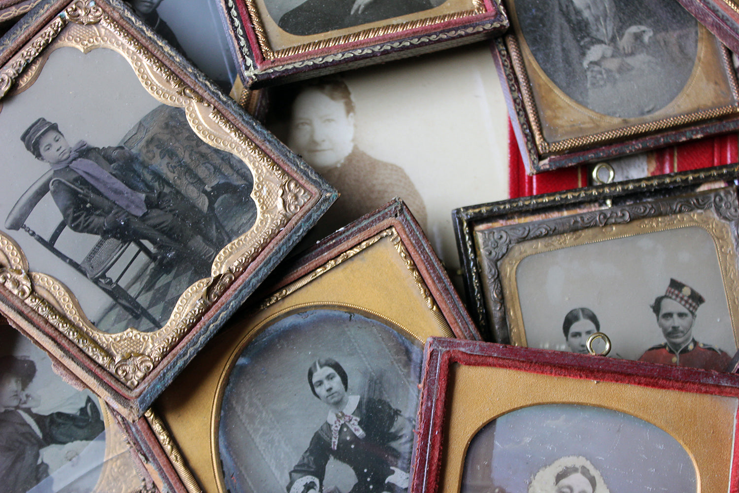 A Spectacular & Sizeable Collection Of Twenty-Eight Victorian Framed Ambrotype & Daguerrotype Portraits c.1850-90