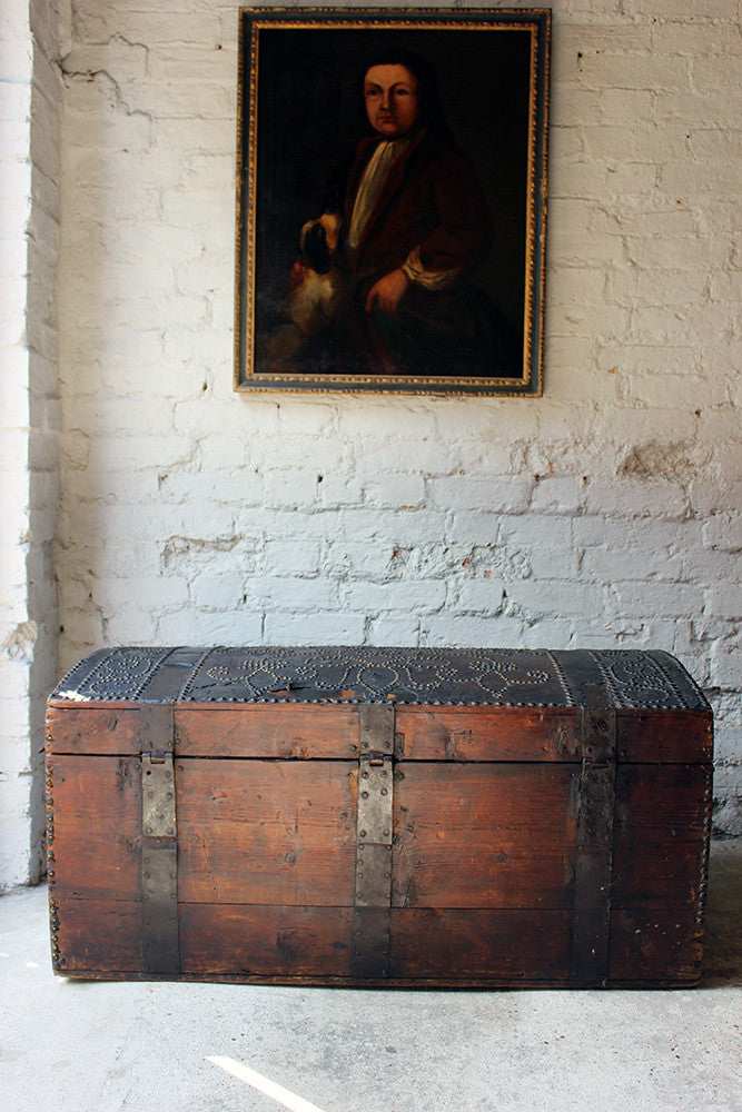 A Wonderful George II Leather-Covered Dome-Topped Travelling Trunk by Smith & Lucas c.1750