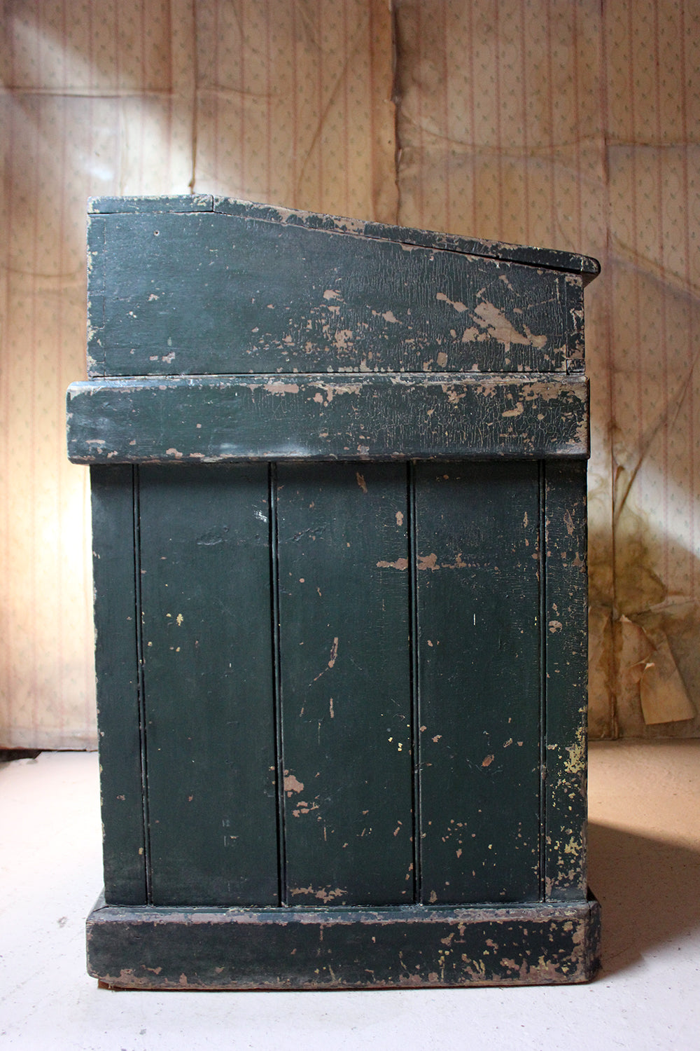 An Early 20thC Green Painted Pine Reception Shop Counter Desk For Harrods Department Store
