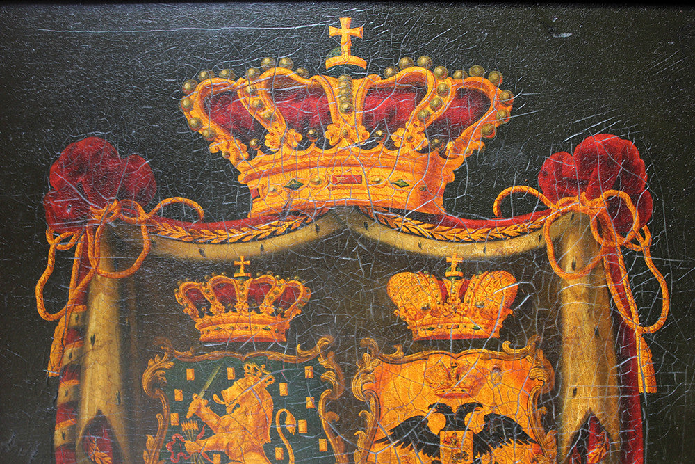 A Fine Mid-19thC Dutch Oil on Panel Funerary Hatchment or Rouwborden: The Marital Arms of Willem Frederik George Lodewijk van Oranje-Nassau, King Willem II of Netherlands & Queen, Grand Duchess Anna Pavlovna of Russia, c.1849