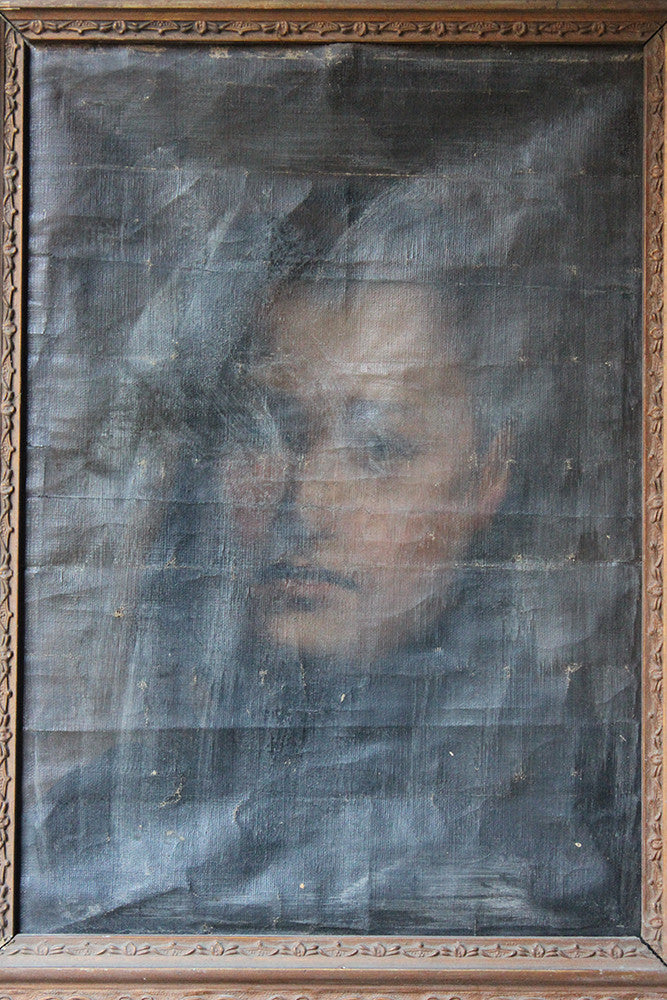 A Mysterious 19thC Oil on Canvas Portrait of a Gentleman