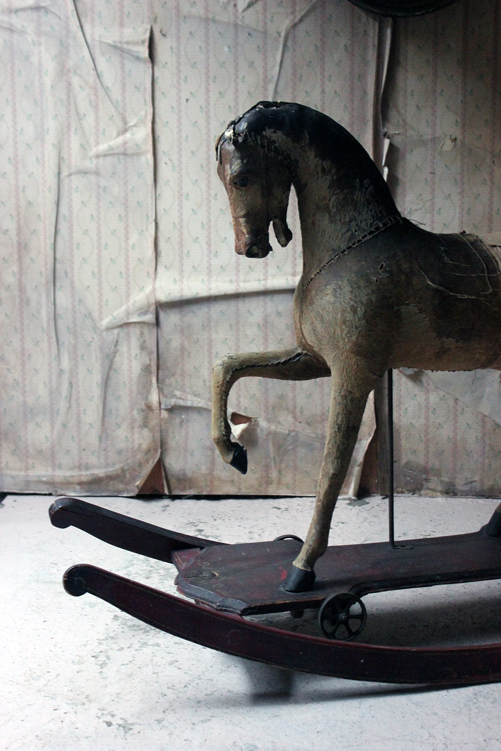 A 19thC Painted, Carved & Horse Hide Rocking & Pull Horse c.1870-80