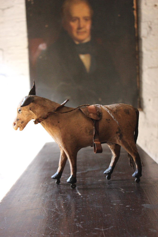 A Charming Mid 19thC French Papier-Mâché & Leather Pull Along Horse