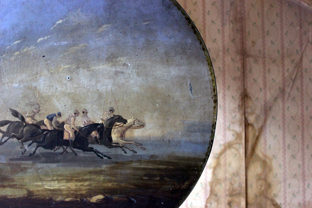 An Unusual 19thC French Ebonised Tripod Table Painted with a Horse Racing Scene