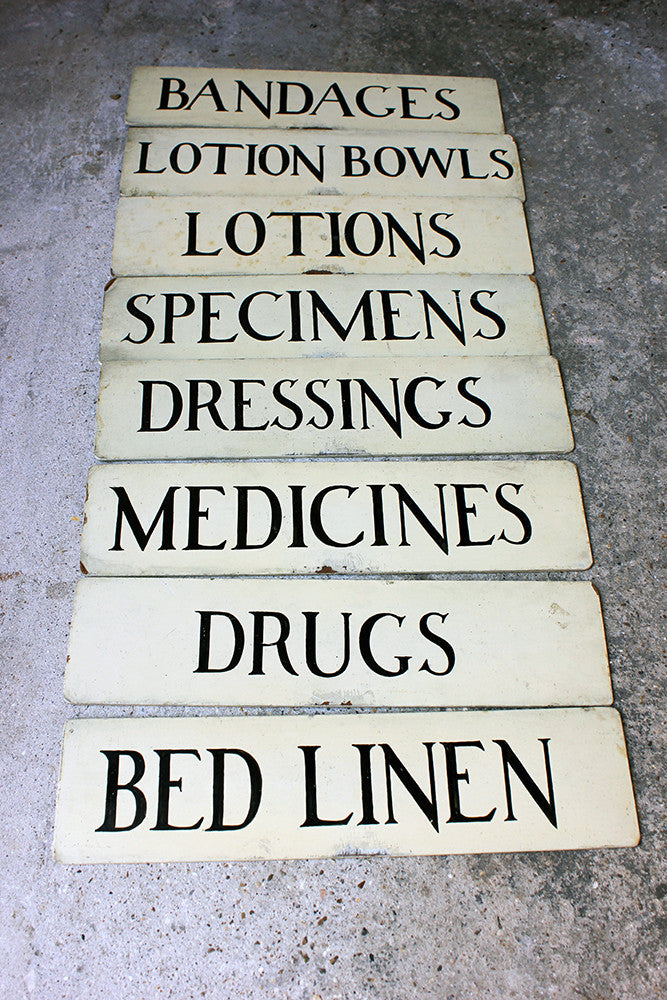 A Decorative Group of Eight c.1930s Painted Hospital Ward Signs