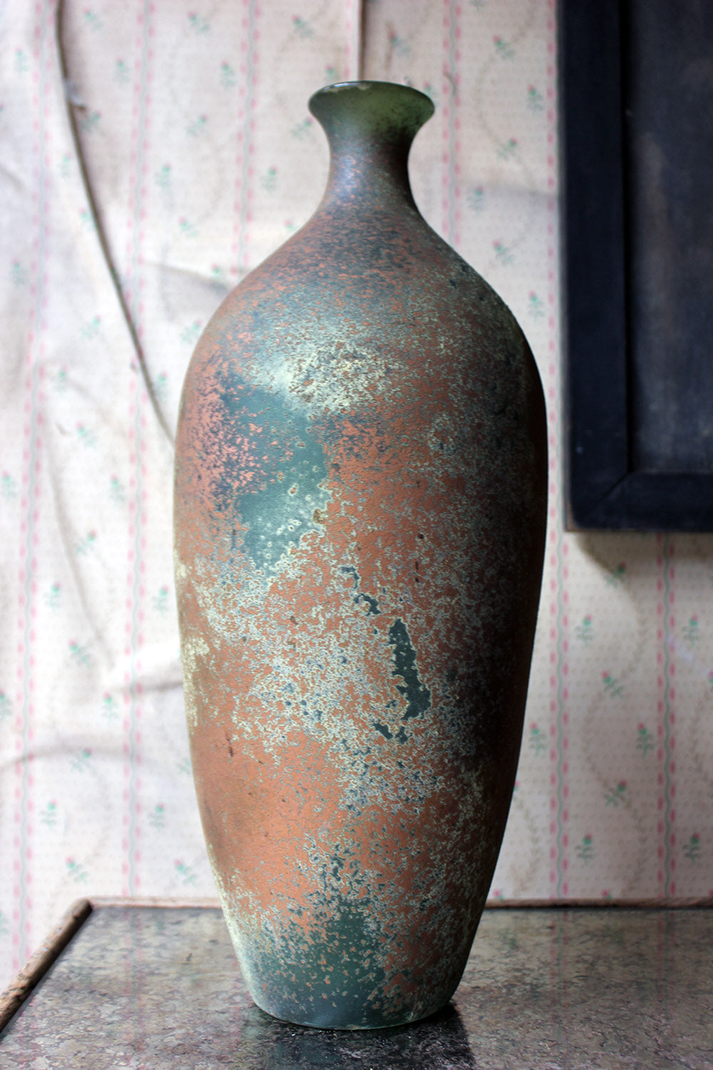 A Vintage Iridescent Green Glass Vase c.1960