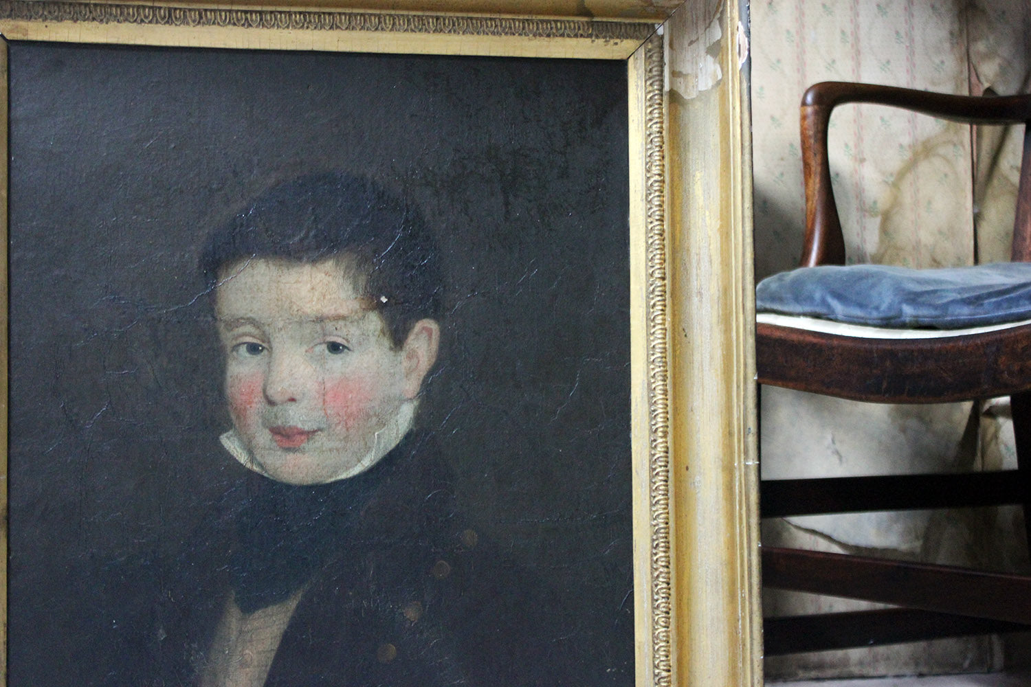 An Early 19thC Irish School Oil on Board of a Young Boy c.1810-25