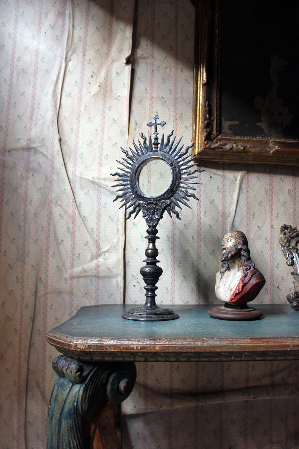 An 18thC Italian Silver-Plated Bronze Catholic Ostensory or Monstrance c.1780