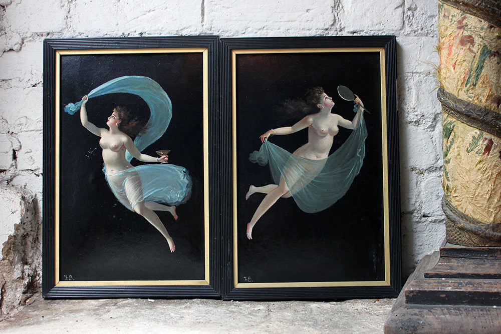 A Decorative Pair of c.1900 Italian School Oil on Boards of Female Beauties
