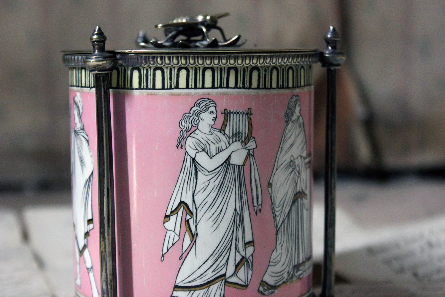 A Silver Plate & Pottery Classical Revival Preserve Pot by James Dixon & Sons c.1860-70