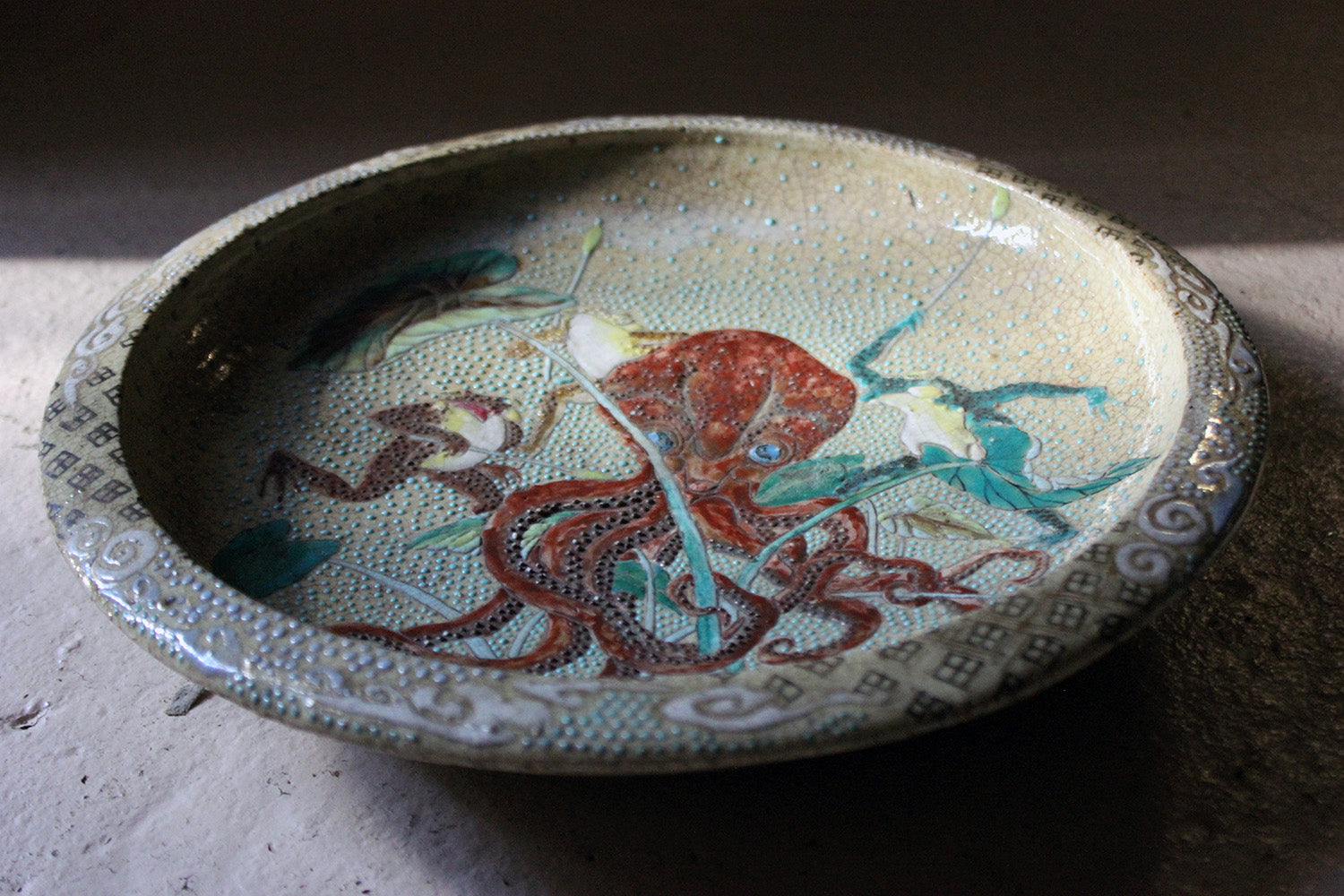 An Early 20thC Enamel Painted Japanese Satsuma Stoneware Charger