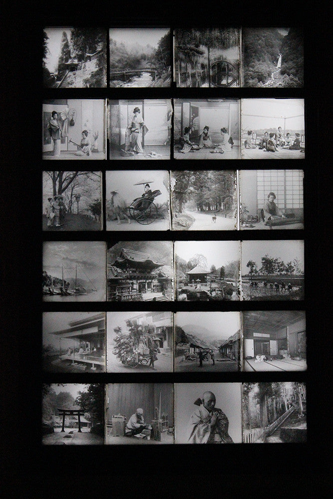 A Stunning Group of Twenty-Four Light-Box Framed Late 19thC Lantern Slides of Japanese Interest