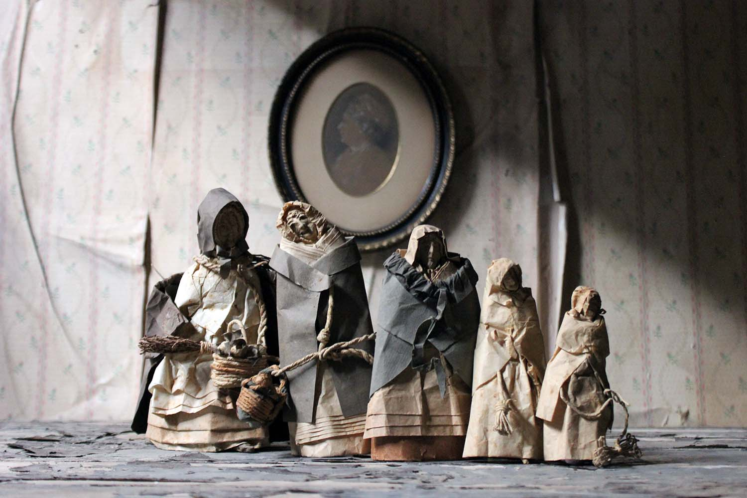 Julia Norris; A Rare Collection of Five 19thC Folk Art Sculpted Paper Ladies