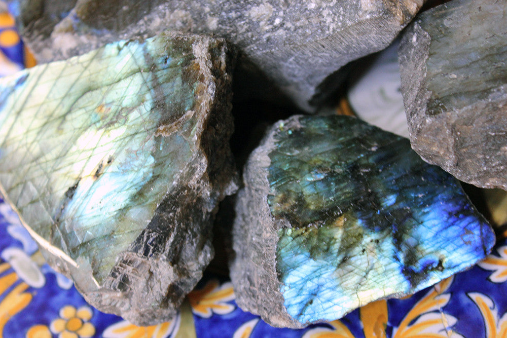 Natural History; A Beautiful Group of Ten Labradorite Mineral Specimens