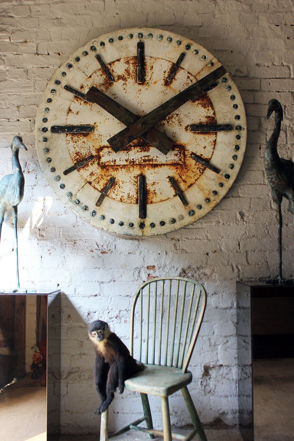 A Large & Decorative Early 20thC Painted Zinc & Iron Architectural Clock Face c.1920-35