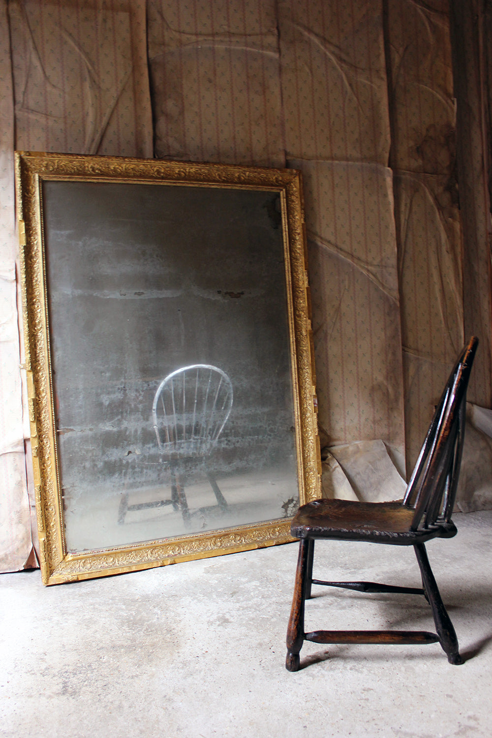 A Stunning Large 19thC French Giltwood & Gesso Wall Mirror c.1880