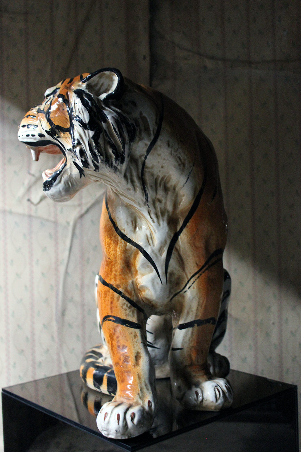 A Large Mid-Century Italian Earthenware Model of a Tiger c.1960-70