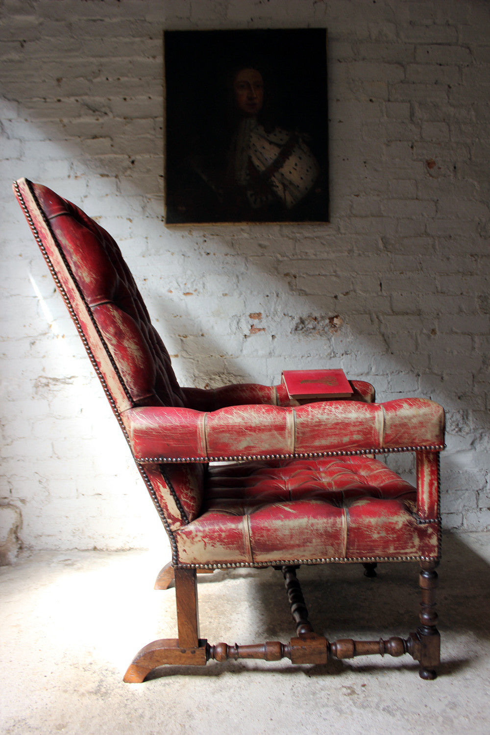 A Wonderfully Grand Leather Upholstered & Walnut Open Armchair c.1880