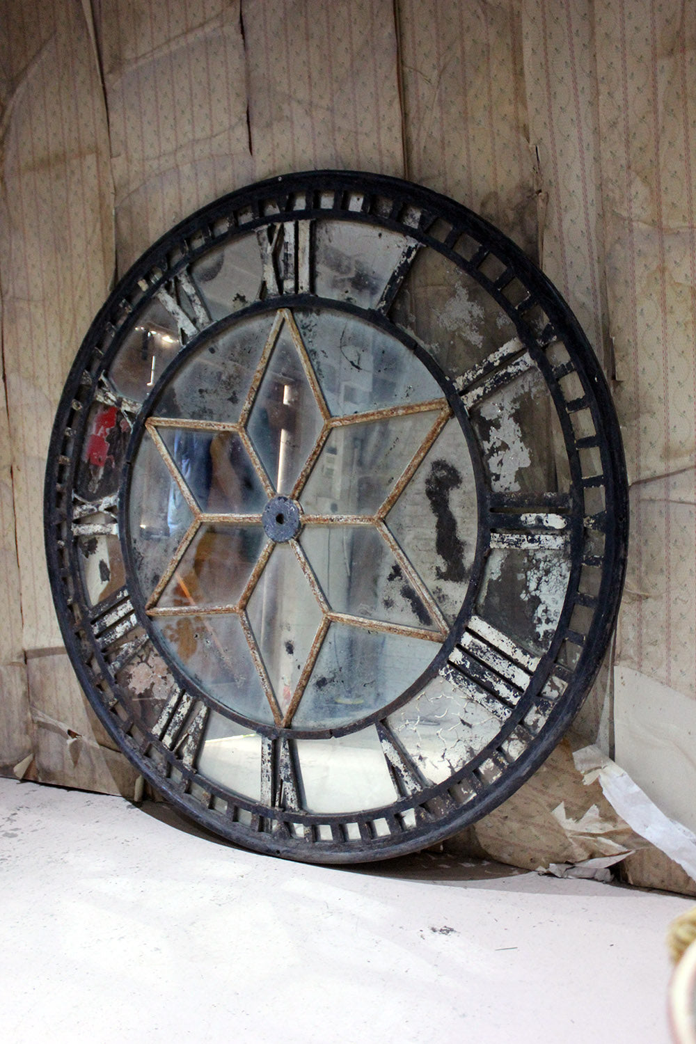 A Large Cast Iron Painted & Mirrored Architectural Skeleton Clock Face; Gatehouse, Leicester c.1870