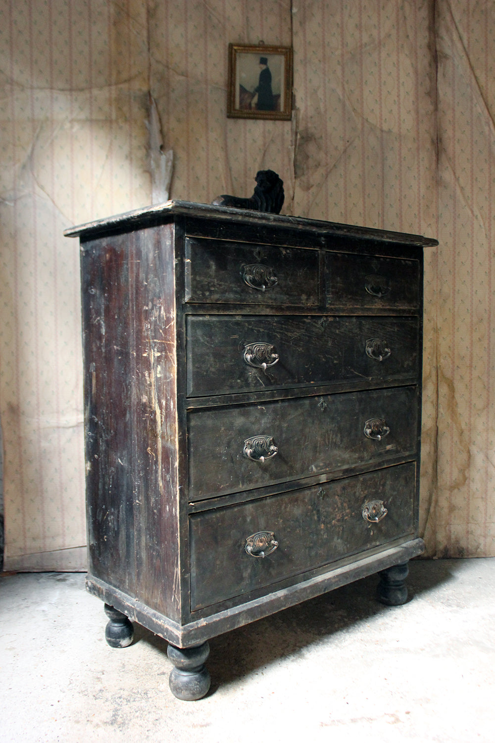 A Large & Decorative Early 20thC Stained Pine Chest of Drawers c.1900-15