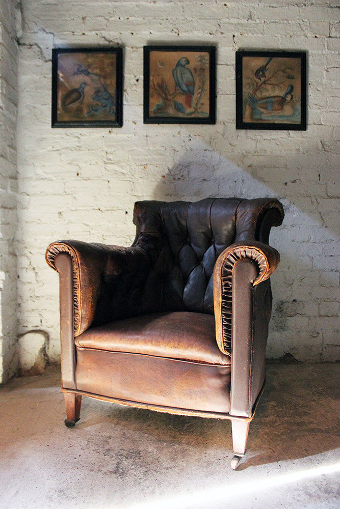 A Good Late 19thC Button Back Leather Armchair C.1900