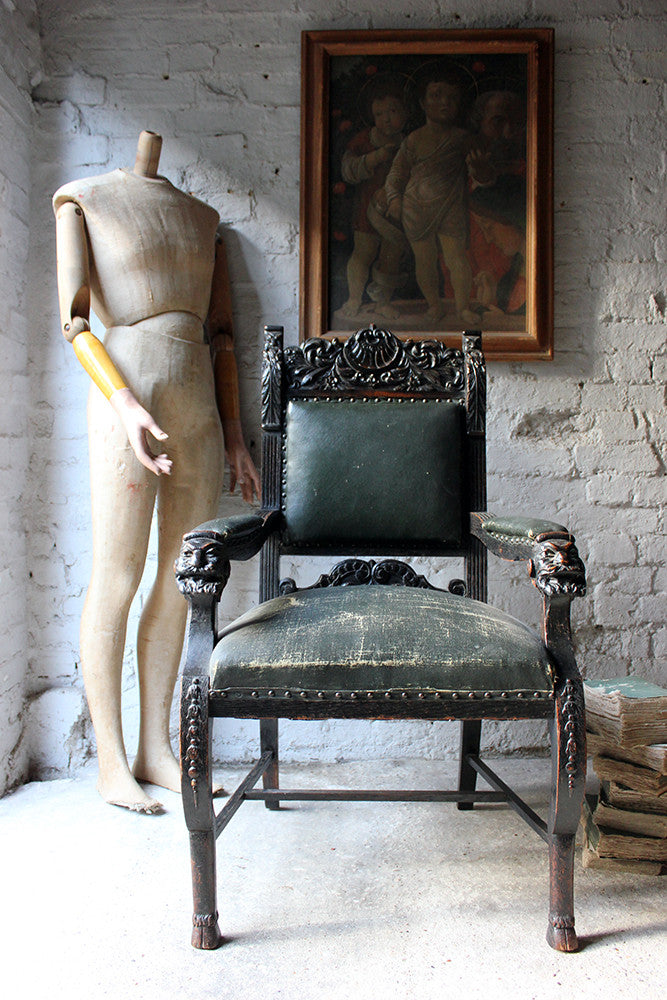 A Well Carved c.1900 Oak & Leatherette Upholstered Armchair