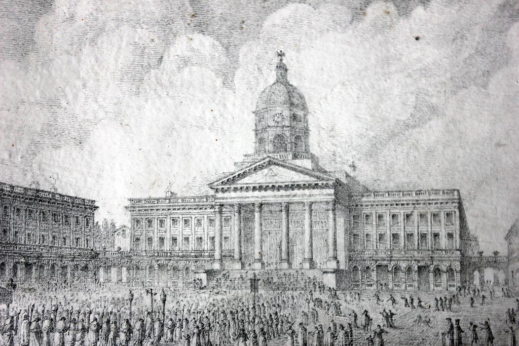 An Exquisite c.1830s Pencil Study of the Place Royale de Bruxelles by Rose-Joseph Lemercier (French, 1803–1887)