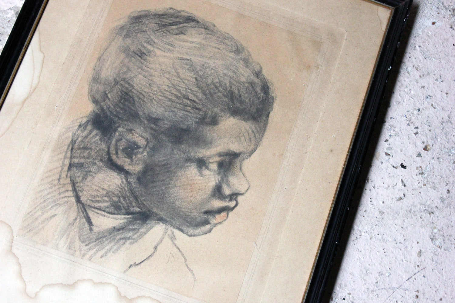 A French School Engraving by Alphonse Leroy after Paolo Veronese; Head of a Black Boy c.1870