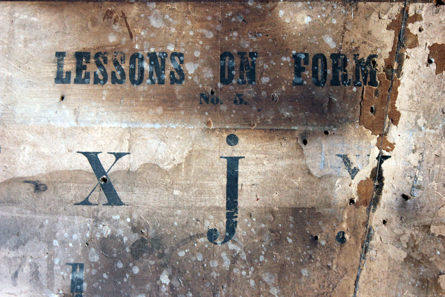 'Lessons on Form'; A Very Decorative Painted Pine & Paper Labelled School Teaching Aid Panel c.1900