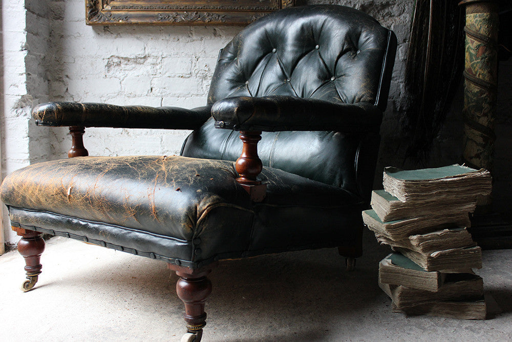 A Sumptuous Victorian Country House Mahogany & Leather Library Armchair c.1880
