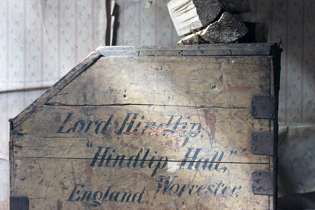 A 19thC Painted Pine Estate Made Trunk; Lord Hindlip, Hindlip Hall, Worcester, England