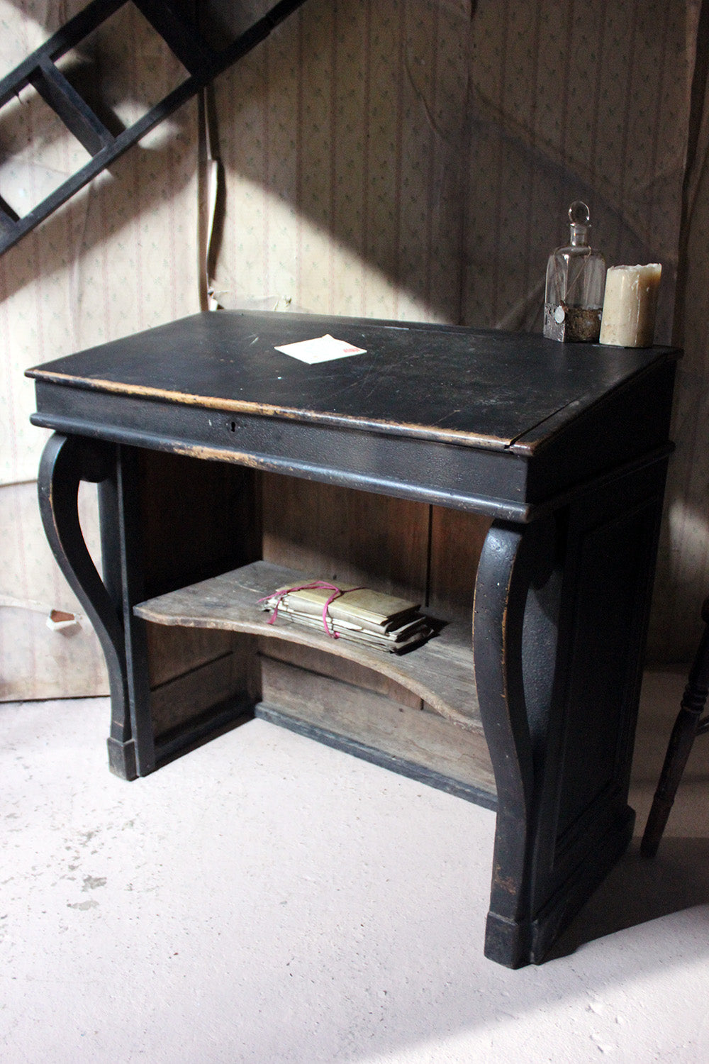 A French Louis-Philippe Period Black Painted Clerk's Desk c.1850