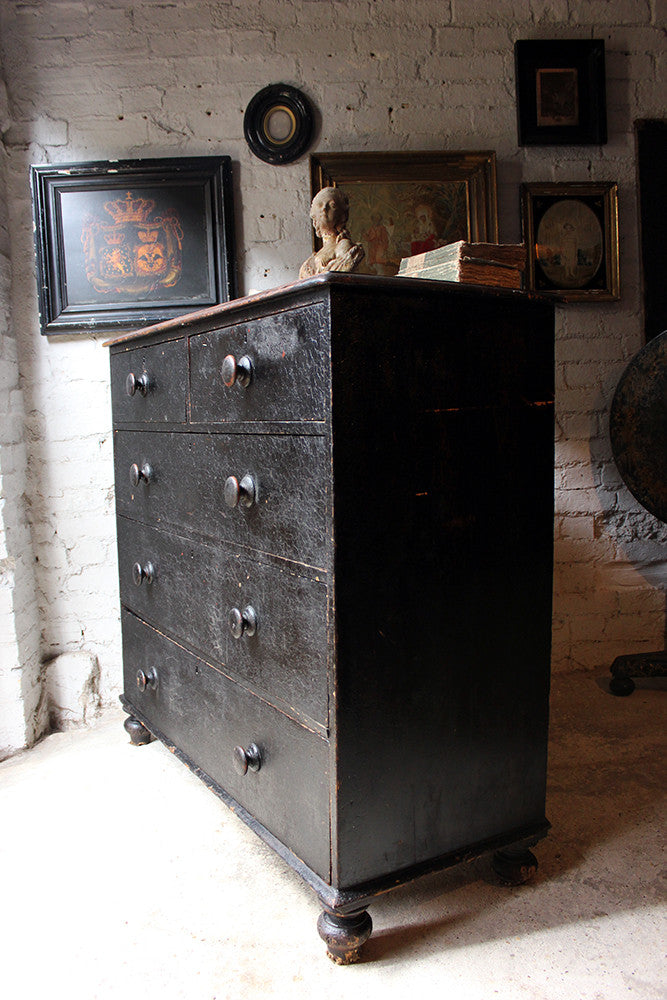 A Fabulous Large c.1850 Black Painted Pine Chest of Drawers