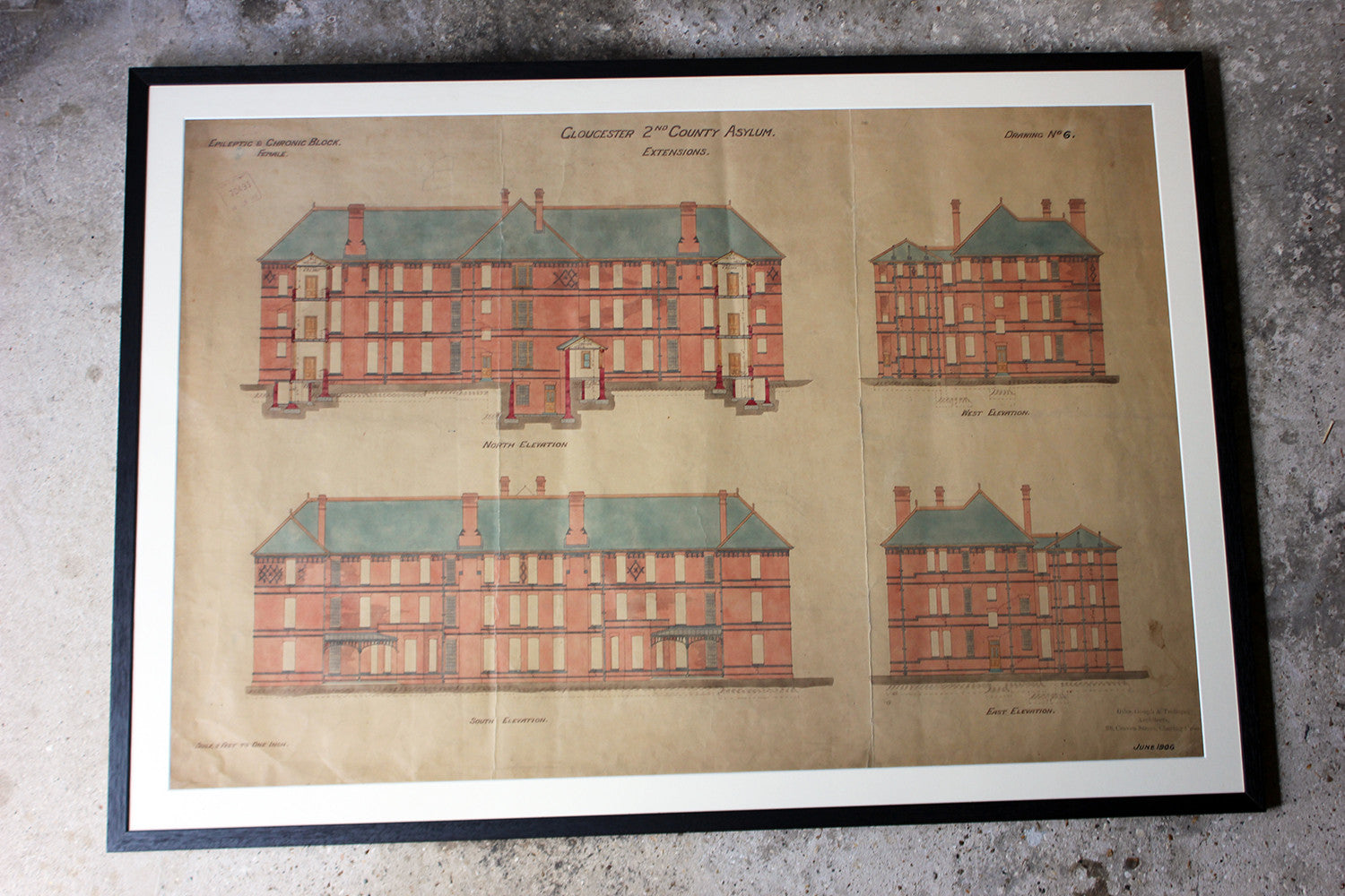 A Rare & Very Interesting Group of Five Framed Late Victorian/Edwardian Period Architect's Drawings and Plans Relating to the Horton Road First Gloucestershire County Lunatic Asylum & The Coney Hill Gloucestershire County Lunatic Asylum; c.1880-1906
