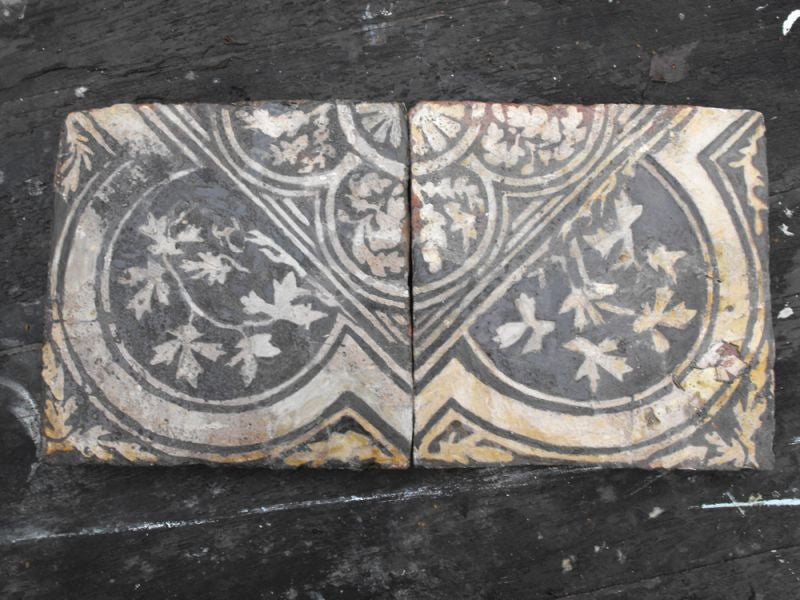 A Rare Pair of Two-Colour English Medieval Floor Tiles from Malmesbury Abbey