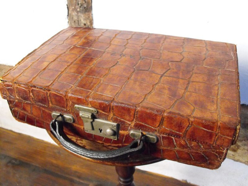 An Intriguing Crocodile Skin Attache Case, Dated to 1910