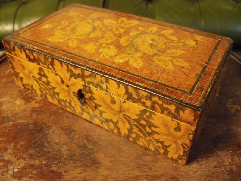 A Beautifully Botanical Georgian Pen Work Jewellery Box